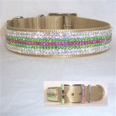 Island Tropics one and a half inch wide Bling Dog Collar. Fancy gold nylon collar lavishly decorated with clear, peridot green and rose pink crystal.