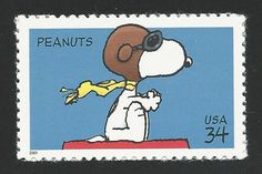 Charles Schulz Peanuts Snoopy The Red Baron WW I Flying Ace Puppy Dog Stamp MINT