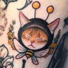 Pretty Tattoos, Love Tattoos, Beautiful Tattoos, Body Art Tattoos, Cat Tattoos, Mini Tattoos, Small Tattoos, Cat Tattoo Designs, Tatuagem Old School