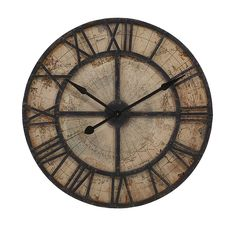 Bryan Map Wall Clock - Where does the time go? Contemplate the conundrum with a clock face comprised of a vintage map of the world with large Roman numerals to mark the hours.