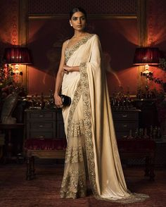 Sabyasachi Saree with embroidered edges and net pleats. Sabyasachi Sarees, Bridal Lehenga Choli, Indian Sarees, Bollywood Saree, Bollywood Fashion, Indian Look, Dress Indian Style, Indian Dresses, Desi Wedding