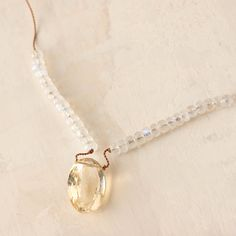 "A sparkling amulet of citrine is surrounded by two lengths of moonstone to form this hand-crafted strand from Philadelphia's Lily B. & Co.- Citrine, moonstone, nylon cord, sterling silver clasp- Crimp closure- Bib drop: 10.25""- Pendant: 0.5""W, 0.6""L- Handmade in the USA19.5""L"