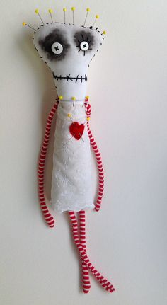 Pincushion Queen by Snotnormal on Etsy https://www.etsy.com/shop/Snotnormal #Tim Burton #handmade #ooak doll #art doll