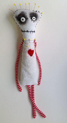 Pincushion Queen by Snotnormal on Etsy https://www.etsy.com/shop/Snotnormal #Tim Burton #handmade #ooak doll #art doll