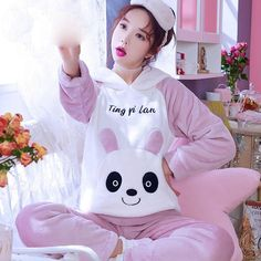 a882eefb1 Pajama Sets Women Loose Soft Casual Home Clothing Students Pajamas Womens  Korean Style Hooded Long Sleeves Thicker Sweet Pockets