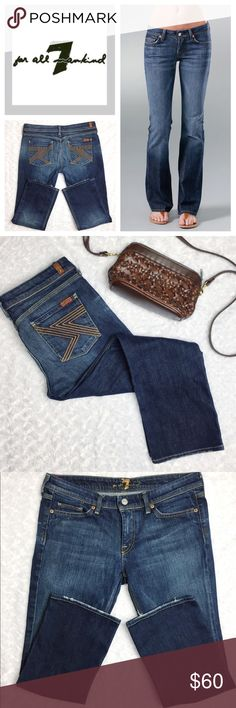 "7 For All Mankind Flynt Cropped Jeans 7 For All Mankind Flynt Cropped Jeans. These 5-pocket style jeans have a nice stretch and comfortable rise. Flat waist measures 16"". Inseam measures 25"". Wear these with rolled cuffs for a more Capri style or unroll them and enjoy the casual ankle length. Dark wash with whiskers and slightly distressed bottom hem. These are seriously great!! 7 For All Mankind Jeans Ankle & Cropped"