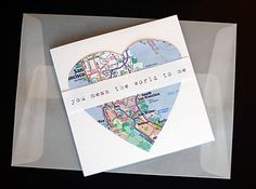 'you mean the world to me' map valentine