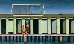 Rushcutters Bay baths, 1961 by Jeffrey Smart Australian Painting, Australian Artists, Jeffrey Smart, Smart Art, Male Figure, 2d Art, Urban Landscape, Contemporary Paintings, House Painting
