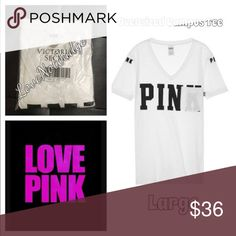 NWT VS PINK Oversized CAMPUS POCKET VNECK TEE NWT VS PINK Oversized CAMPUS POCKET VNECK TEE. Brand new in th  package! Many other colors and sleeves lengths available! Bundle to save! XoXo PINK Victoria's Secret Tops Tees - Short Sleeve