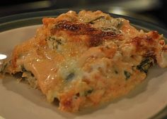 Chicken lasagna with roasted red pepper sauce