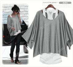 Women's Batwing Dolman Short Sleeve Loose Tops Vest T-Shirt Blouse S M L XL #069