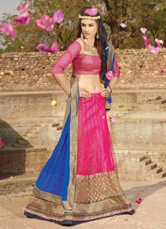 Deep Pink Net Lehenga Choli ,Indian Dresses