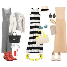 A fashion look from June 2013 featuring peach dresses, white and black striped dress and jersey dresses. Browse and shop related looks. Maxis, Shoe Bag, Polyvore, Stuff To Buy, Shopping, Collection, Design, Women, Fashion