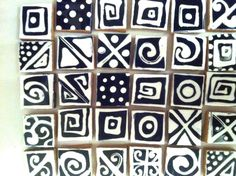 New set of 100 AZTEC DESIGN BLACK DOODLES Hand Painted and Cut Mosaic Tiles. ( PICTURE SHOWS A REPRENTSATION OF THE MOSAIC TILES THAT YOU WILL RECEIVE ). These tiles have been hand painted and sealed using quality thermohardening paints and are non toxic and dishwasher proof, they will withstand grouting. | eBay!