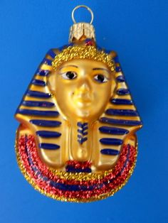 KING TUT TUTANKAHMUN EUROPEAN BLOWN GLASS CHRISTMAS ORNAMENT