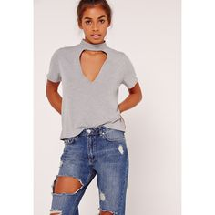 Missguided Choker T Shirt featuring polyvore, women's fashion, clothing, tops, t-shirts, grey, jersey t shirt, gray t shirt, viscose tops, grey top and grey tee