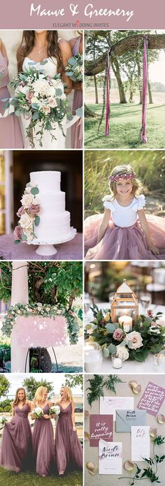 mauve and greenery organic all spring and summer wedding colors