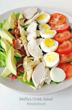 Delicious Cobb Salad. Chicken, Bacon, Avocado, Artichoke, Tomato, Eggs. The perfect paleo salad! Mutusystem.com  #nutrition #cleaneating #paleo #mutufood #healthy #food