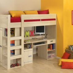 kids girl bunk beds with desk and storage plus yellow wall also wooden floor for girl bedroom design