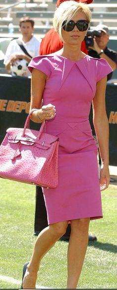 VB - Roland Mouret dress, Hermès ostrich Birkin bag