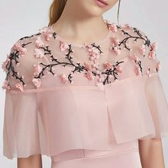 Cape with beautiful embroidery. Lve the colours n style for western formal look Cape with beautiful embroidery. Lve the colors n style for western formal look Kurti Neck Designs, Dress Neck Designs, Blouse Designs, Sleeve Designs, Stylish Dresses, Fashion Dresses, Elisa Cavaletti, Sleeves Designs For Dresses, Stylish Blouse Design