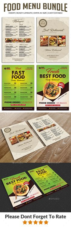 Food Menu Flyers Bundle Templates - Food Menus Print Templates