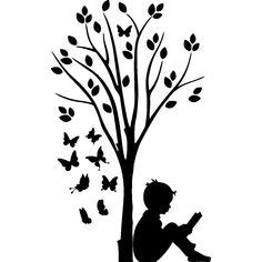 Sticker Garçon, d'arbres et des papillons - Kinderkamer . - Panç şablonları - Sticker Garçon, d'arbres et des papillons – Kinderkamer - Silhouette S, Silhouette Portrait, Pencil Art Drawings, Cute Drawings, Ambiance Sticker, Tree Patterns, Creative Walls, Cricut Creations, Pyrography