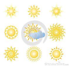 Sun icon silhouette in set. Vector illustration.