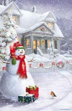 Foto de Christmas - Google Fotos Beautiful Christmas Scenes, Christmas Scenery, Christmas Artwork, Christmas Swags, Christmas Paintings, Christmas Pictures, Christmas Wallpaper, Christmas Themes, Christmas Decorations