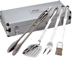 AllClad T147 Stainless Steel Tongs Spatula Fork and Brush BBQ Tools Cookware Set 4Piece Silver ** See this great image @