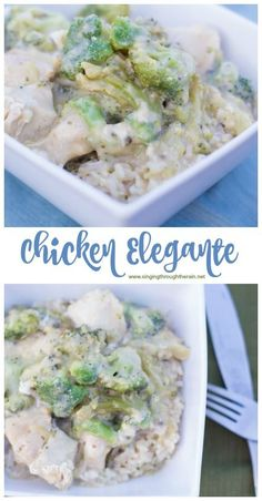 """Chicken Elegante (which means """"Elegant Chicken"""") is an easy and delicious dinner recipe. This comfort food has become a staple in our home!"""