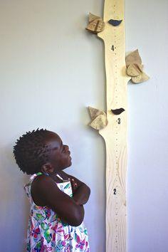 Tree Height Chart - Children's growth chart - Magnetic birds measure height - Children's room - Nursery Decor - Wood - Tree and Bird
