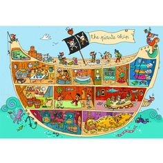 The Pirate Ship, Super Sized Floor Puzzle, by Ravensburger - PAL Award - Top Toys, Games, Books that Encourage Language Pirate Day, Pirate Theme, The Pirates, Pirate Activities, Groups Poster, Picture Writing Prompts, Poster Art, Hidden Pictures, Vintage Poster