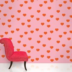 Hearts Red/Pink Removable Wallpaper by WallCandy Arts. When you're working with simple temporary wallpaper, dressing your drabbest walls in this fun and colorful red and pink heart design. Kids Room Wallpaper, Heart Wallpaper, Vinyl Wallpaper, Peel And Stick Wallpaper, Wallpaper Decor, Pink Removable Wallpaper, Colorful Wallpaper, Fantastic Wallpapers, Contemporary Wallpaper