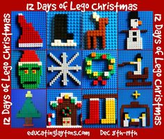 12 Days of Lego Christmas themes - main page of information for Christmas brick building fun Dec Lego Christmas Tree, Christmas Themes, Kids Christmas, Christmas Crafts, Christmas 2019, Christmas Activities For Kids, Holiday Crafts For Kids, Lego Activities, Library Activities