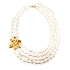 White and Gold Wedding. Bridal Pearl and Crystal Floral Statement Necklace. Gold filled silver flower pearl necklace