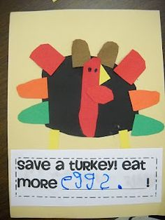 Mrs. Wood's Kindergarten Class: read 'Twas the Night Before Thanksgiving and then make this turkey craft