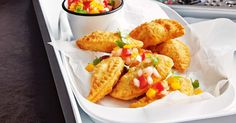 A popular Brazilian street food, pastels are traditionally made with chicken, prawns, beef, cheese or corn, wrapped in golden pastry and deep-fried to crispy perfection.