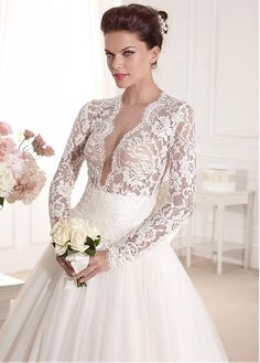 Buy discount Fantastic Tulle & Lace Jewel Neckline A-line Wedding Dress With Bowknot at Magbridal.com