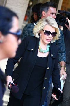 Delightfully Dishy: Fashion Week Street Style. #NYFW Joan Rivers readying for #FashionPolice interviews. | Photog'd by James Newman.
