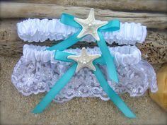 Beach Wedding Starfish Garter SetSOMETHING by sandnsurfcreations