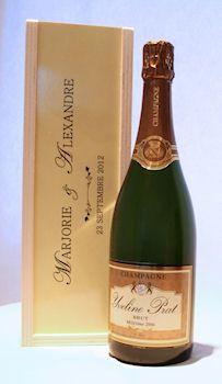 Coffret en bois personnalisé pour bouteille de champagne