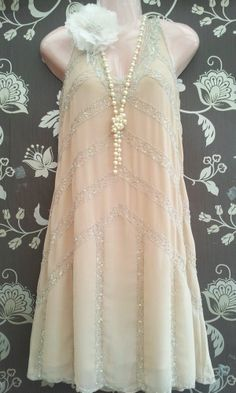 VINTAGE 1920s STYLE NUDE EMBELLISHED SEQUIN GATSBY FLAPPER PARTY DRESS UK 6 8