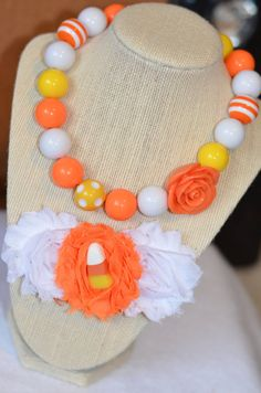 RTS Halloween Chunky Necklace with matching Shabby by BeFabYOUlous