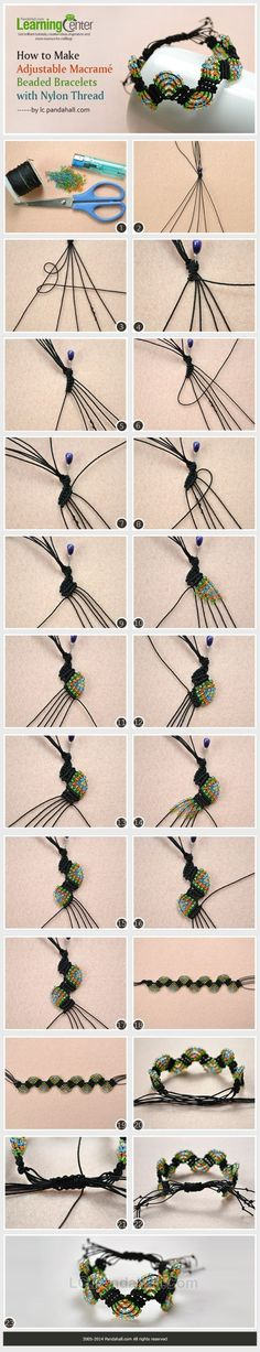 How to Make Adjustable Macramé Beaded Bracelets with Nylon Thread by Jersica