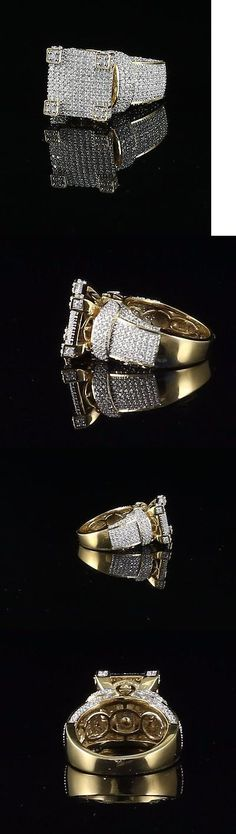 Rings 137856: 10K Yellow Gold Finish Lab Created Diamond Silver Mens Ring Size 8 BUY IT NOW ONLY: $89.99