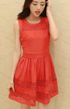 O-neck Sleeveless Lace Splicing Chiffon Dress