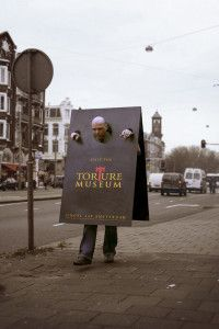 Clever German torture museum street marketing sandwich board.