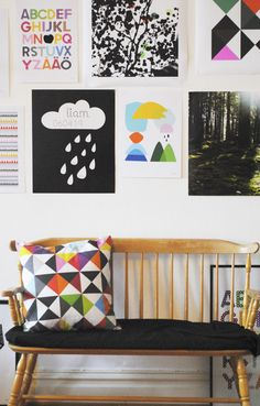 Mamamekko, black and white mixed with colorful, bold, graphic artwork for the walls  #DiaperscomNursery