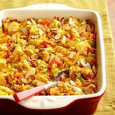 Almond slices and cornflakes form a crunchy topper for this Hot Chicken Salad Casserole. More healthy casserole recipes: health solutions health naturally tips food care Healthy Chicken Casserole, Healthy Casserole Recipes, Potluck Recipes, Easy Dinner Recipes, Cooking Recipes, Healthy Recipes, Dinner Ideas, Healthy Meals, Chicken Cassarole